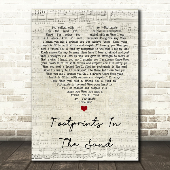 Leona Lewis Footprints In The Sand Script Heart Song Lyric Quote Print