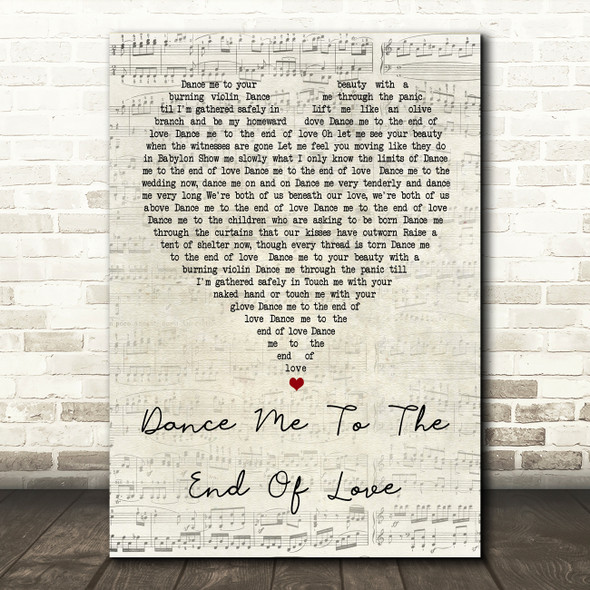 Leonard Cohen Dance Me To The End Of Love Script Heart Song Lyric Quote Print