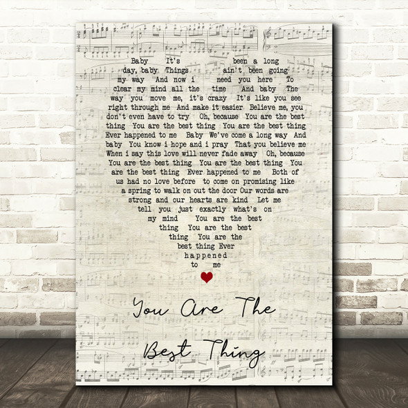 You Are The Best Thing Ray LaMontagne Script Heart Song Lyric Quote Print