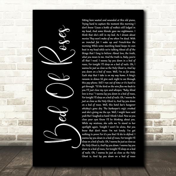 Bon Jovi Bed Of Roses Black Script Song Lyric Quote Print