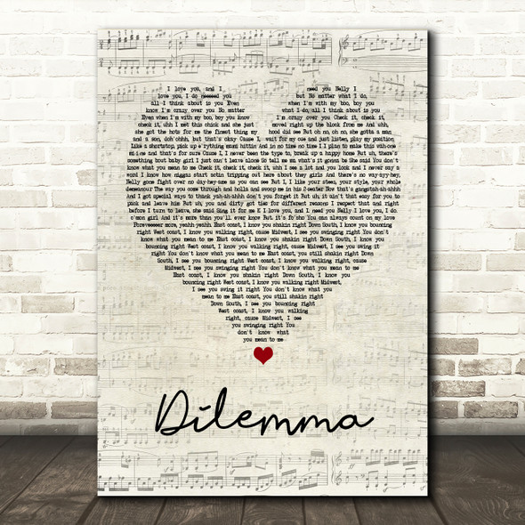 Nelly & Kelly Rowland Dilemma Script Heart Song Lyric Quote Print
