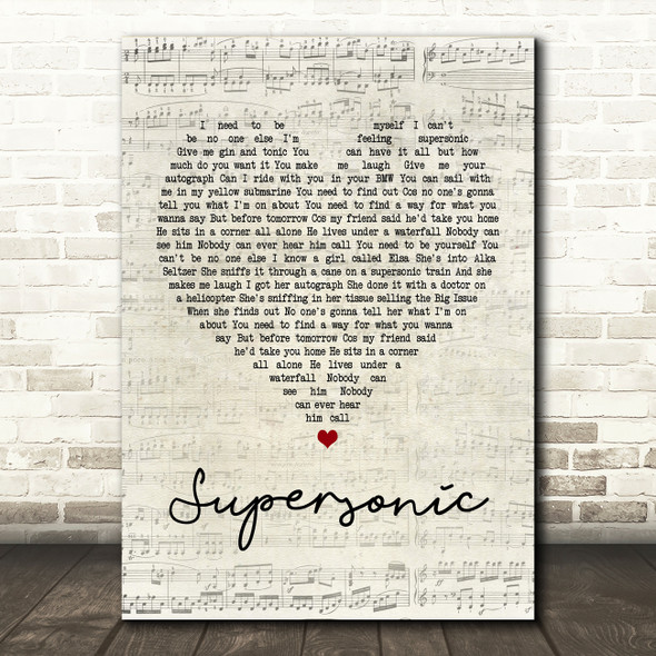Oasis Supersonic Script Heart Song Lyric Quote Print