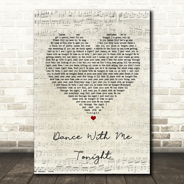 Olly Murs Dance With Me Tonight Script Heart Song Lyric Quote Print
