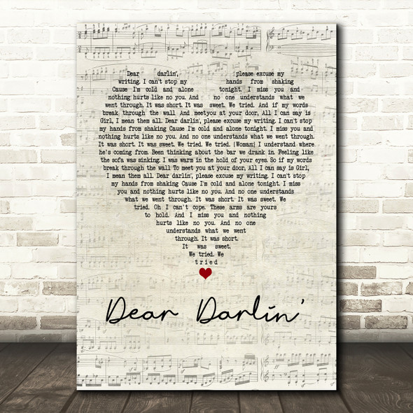 Olly Murs Dear Darlin' Script Heart Song Lyric Quote Print