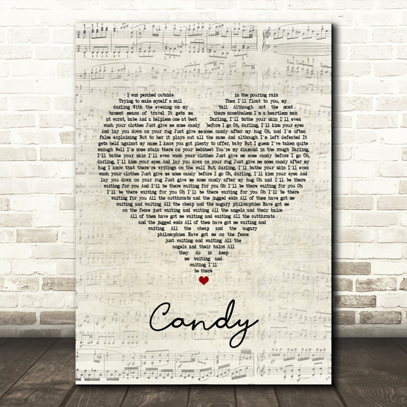 Paolo Nutini Candy Script Heart Song Lyric Quote Print