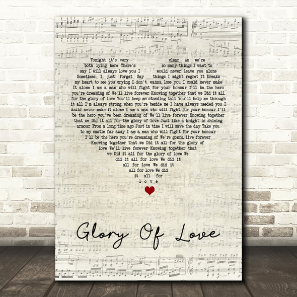 Peter Cetera Glory Of Love Script Heart Song Lyric Quote Print