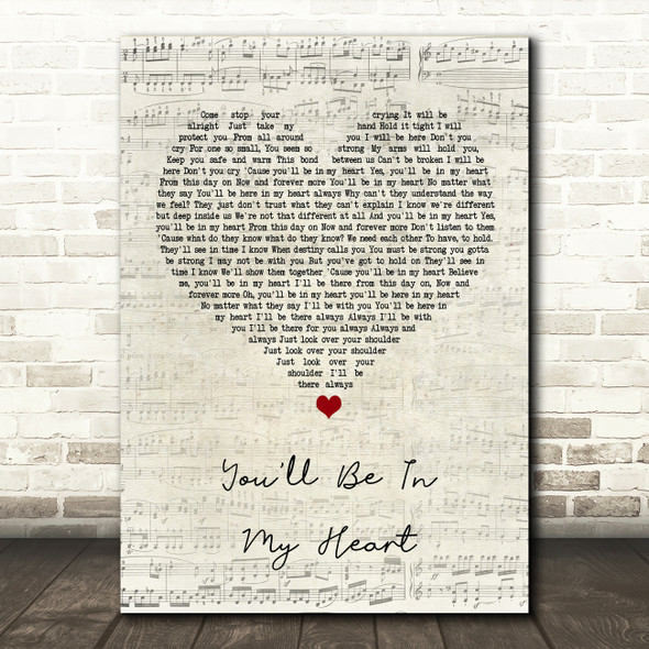 Phil Collins You'll Be In My Heart Script Heart Song Lyric Quote Print