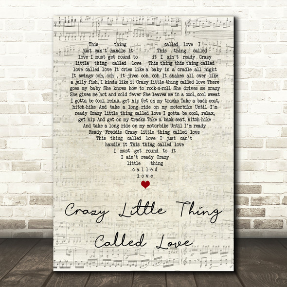 Queen Crazy Little Thing Called Love Script Heart Song Lyric Quote Print