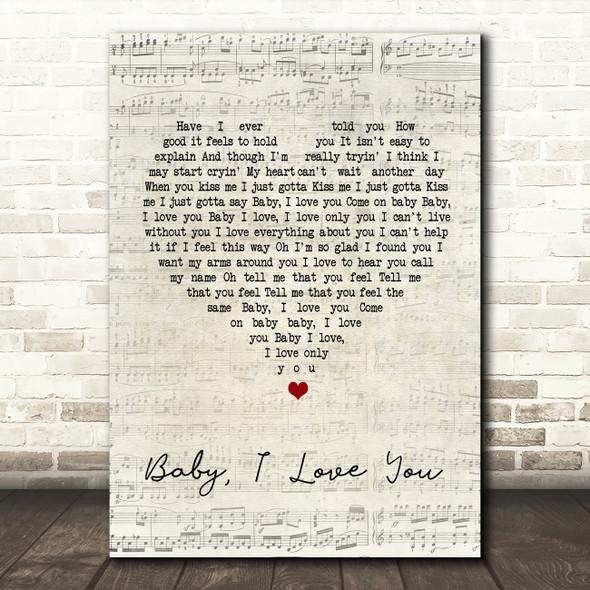 Ramones Baby I Love You Script Heart Song Lyric Quote Print