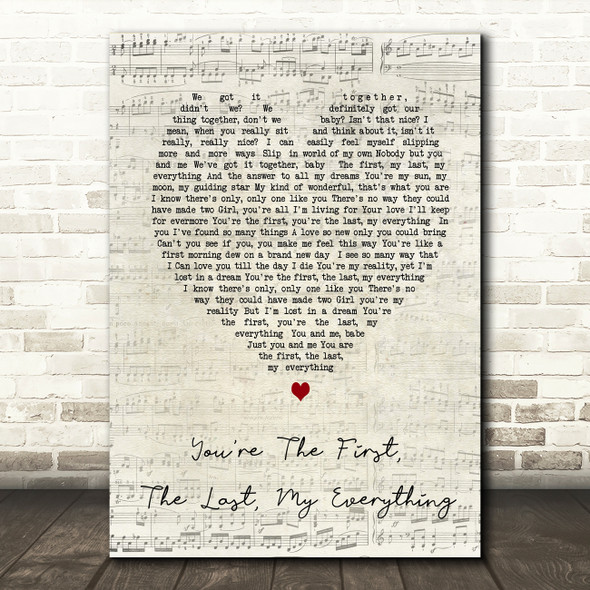 You're The First The Last My Everything Barry Script Heart Song Lyric Print