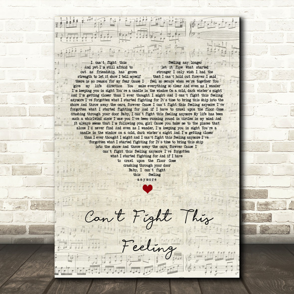 REO Speedwagon Can't Fight This Feeling Script Heart Song Lyric Quote Print