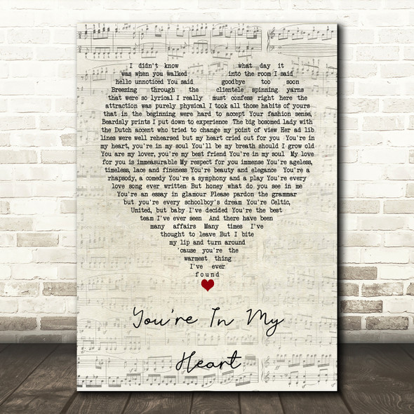 You're In My Heart Rod Stewart Script Heart Song Lyric Quote Print