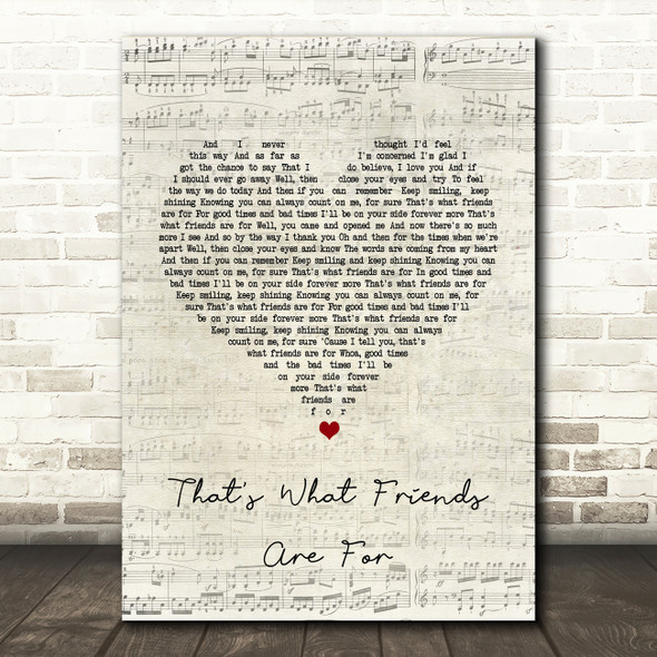 Rod Stewart That's What Friends Are For Script Heart Song Lyric Quote Print
