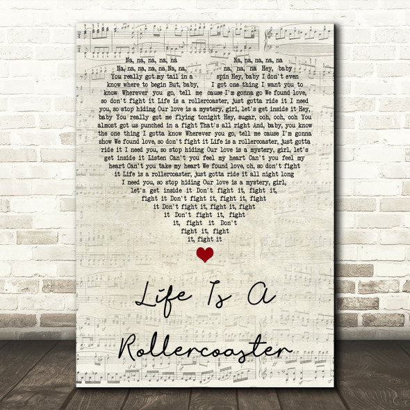 Ronan Keating Life Is A Rollercoaster Script Heart Song Lyric Quote Print