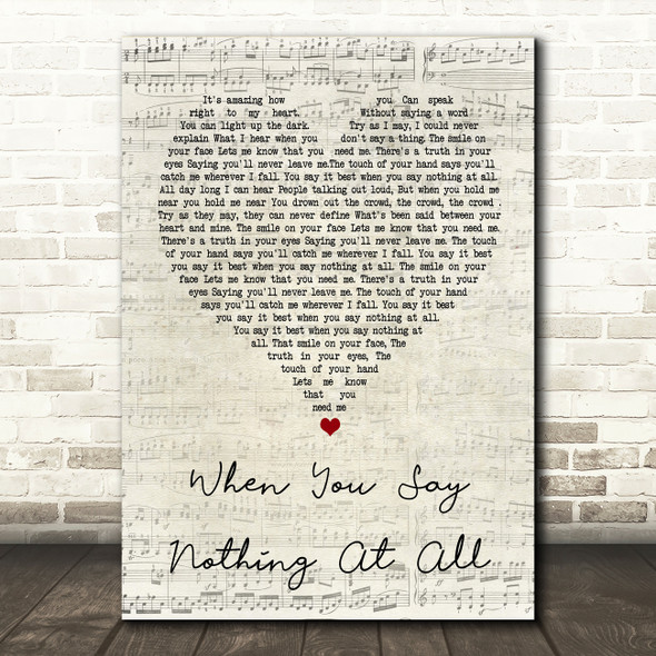 Ronan Keating When You Say Nothing At All Script Heart Song Lyric Quote Print