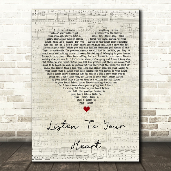 Roxette Listen To Your Heart Script Heart Song Lyric Quote Print