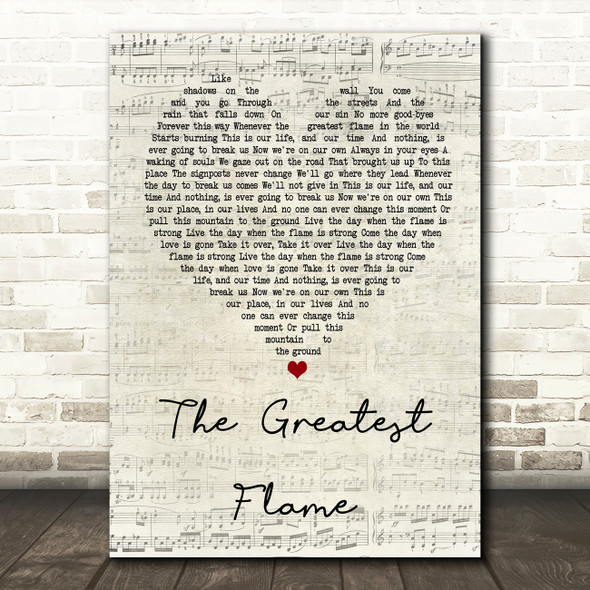 Runrig The Greatest Flame Script Heart Song Lyric Quote Print