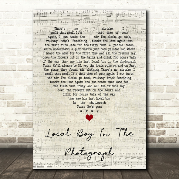 Stereophonics Local Boy In The Photograph Script Heart Song Lyric Quote Print