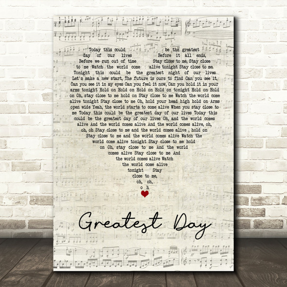 Take That Greatest Day Script Heart Song Lyric Quote Print