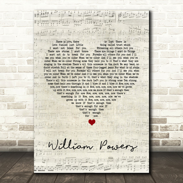 The Maccabees William Powers Script Heart Song Lyric Quote Print