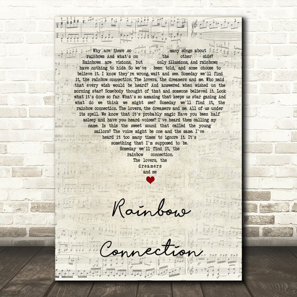 The Muppets Rainbow Connection Script Heart Song Lyric Quote Print