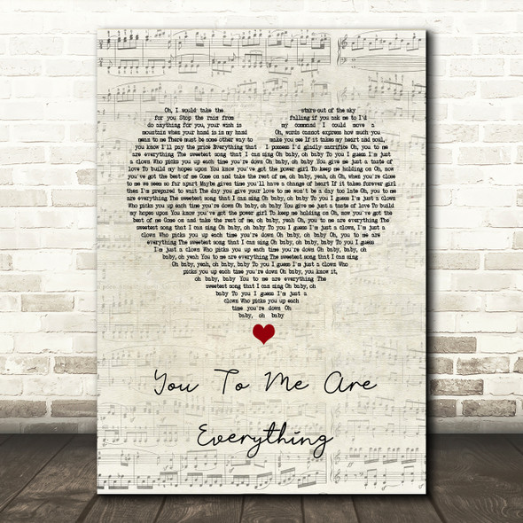 The Real Thing You To Me Are Everything Script Heart Song Lyric Quote Print