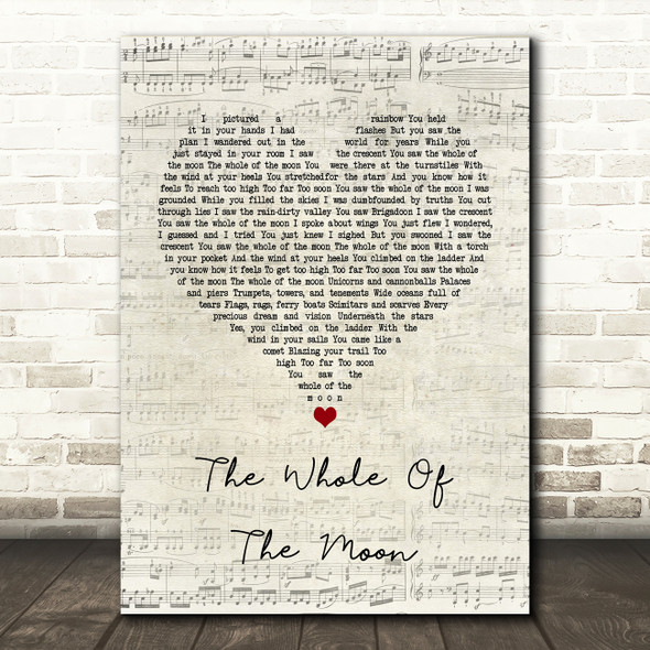 The Waterboys The Whole Of The Moon Script Heart Song Lyric Quote Print
