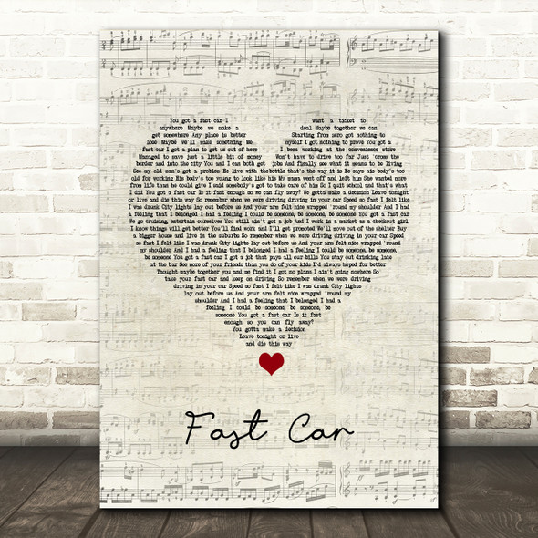 Tracy Chapman Fast Car Script Heart Song Lyric Quote Print