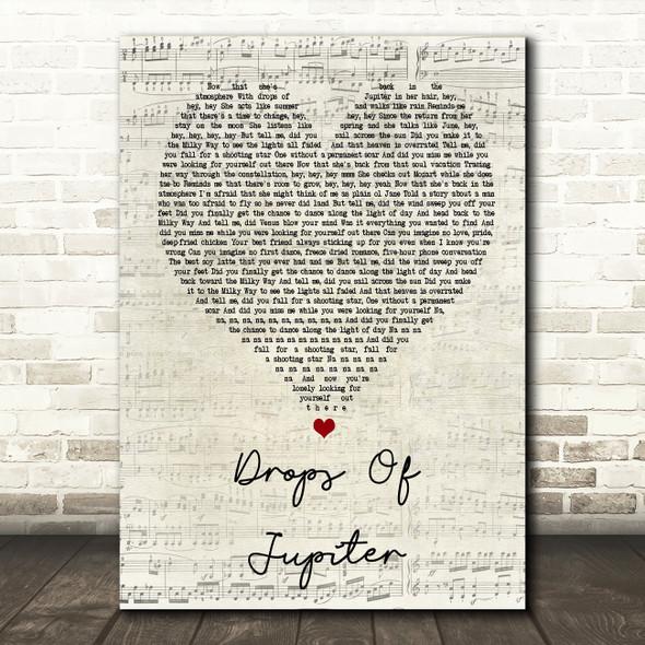 Train Drops Of Jupiter Script Heart Song Lyric Quote Print