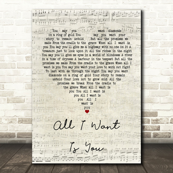U2 All I Want Is You Script Heart Song Lyric Quote Print