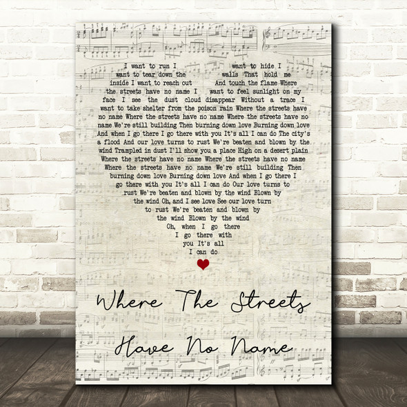U2 Where The Streets Have No Name Script Heart Song Lyric Quote Print