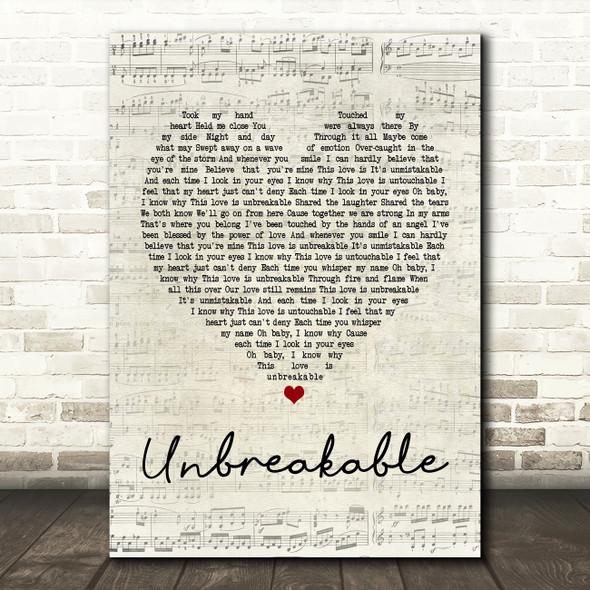 Westlife Unbreakable Script Heart Song Lyric Quote Print