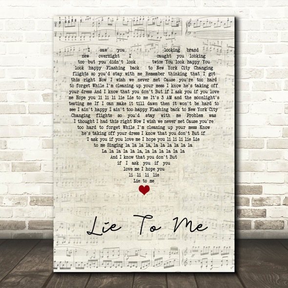 5 Seconds Of Summer Lie To Me Script Heart Quote Song Lyric Print