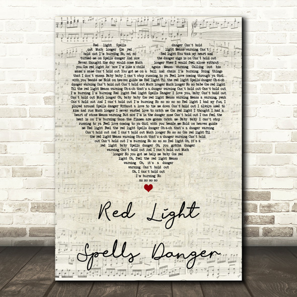 Billy Ocean Red Light Spells Danger Script Heart Quote Song Lyric Print