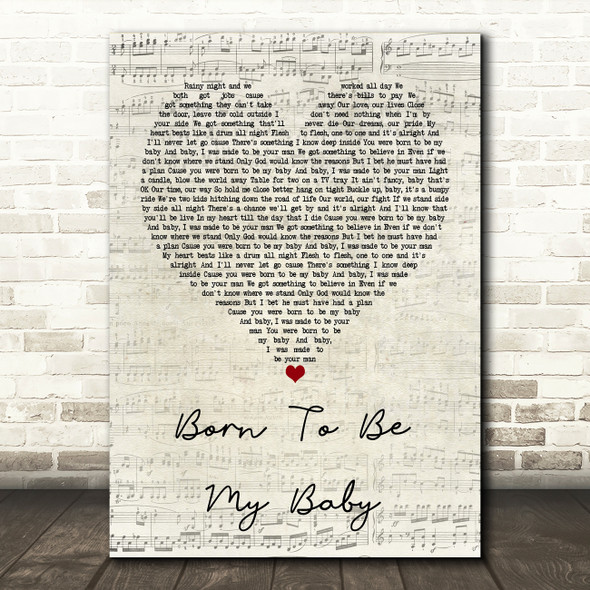 Bon Jovi Born To Be My Baby Script Heart Quote Song Lyric Print