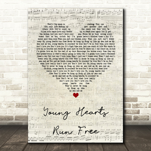 Candi Staton Young Hearts Run Free Script Heart Quote Song Lyric Print