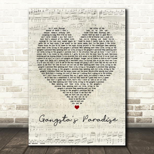 Coolio Gangsta's Paradise Script Heart Quote Song Lyric Print