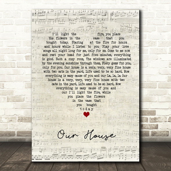 Crosby, Stills, Nash & Young Our House Script Heart Quote Song Lyric Print