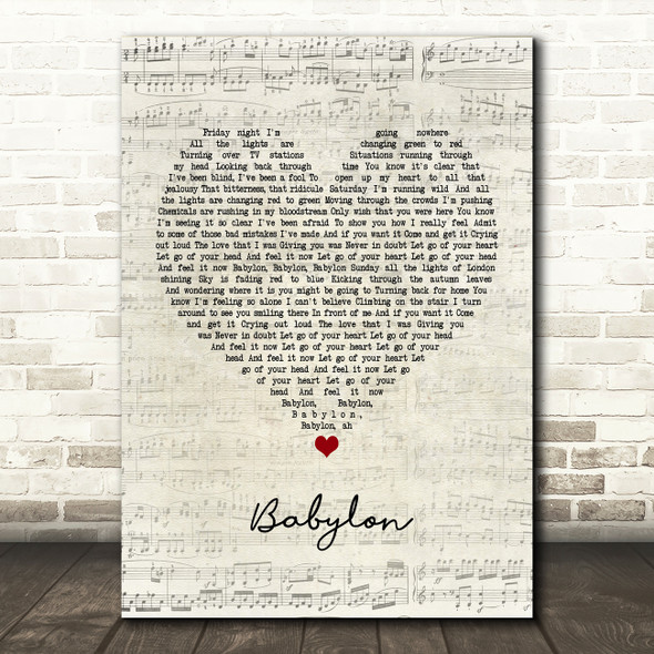 David Gray Babylon Script Heart Quote Song Lyric Print