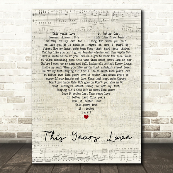 David Gray This Years Love Script Heart Quote Song Lyric Print