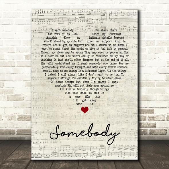 Depeche Mode Somebody Script Heart Quote Song Lyric Print
