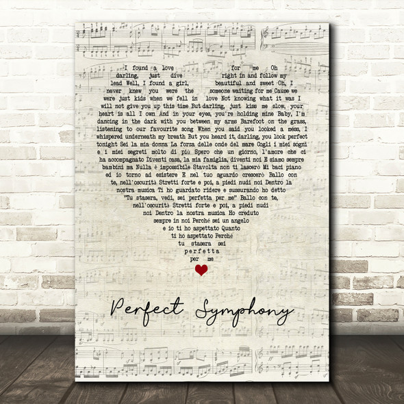 Ed Sheeran & Andrea Bocelli Perfect Symphony Script Heart Quote Song Lyric Print