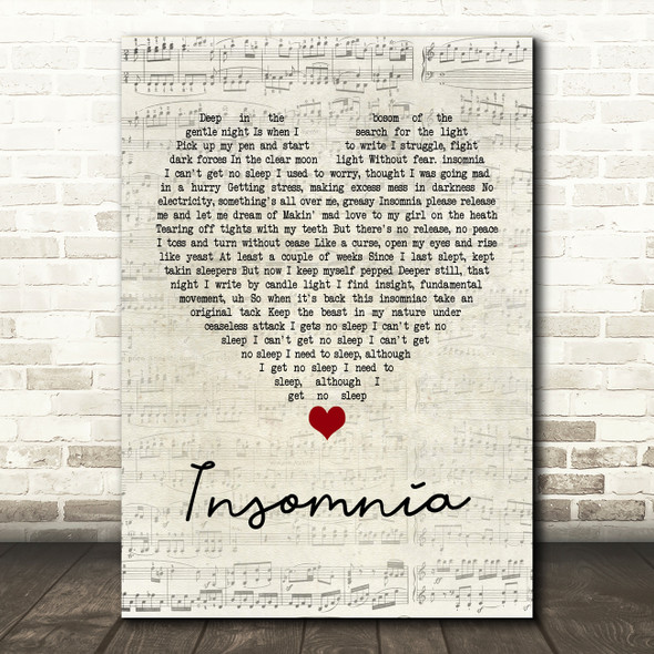 Faithless Insomnia Script Heart Quote Song Lyric Print