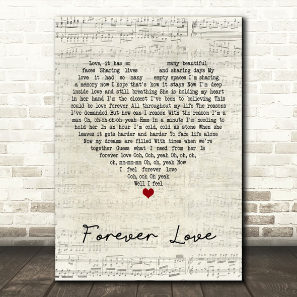 Gary Barlow Forever Love Script Heart Quote Song Lyric Print