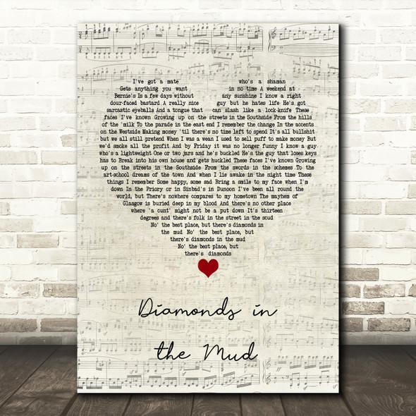 Gerry Cinnamon Diamonds in the Mud Script Heart Quote Song Lyric Print