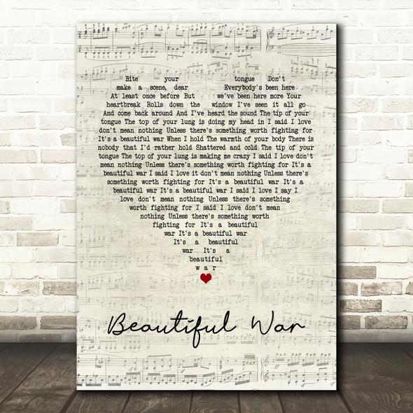 Kings Of Leon Beautiful War Script Heart Quote Song Lyric Print