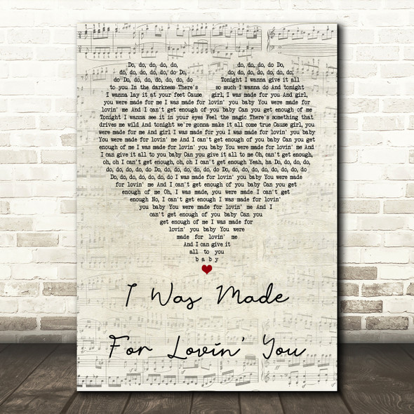 Kiss I Was Made For Lovin' You Script Heart Quote Song Lyric Print
