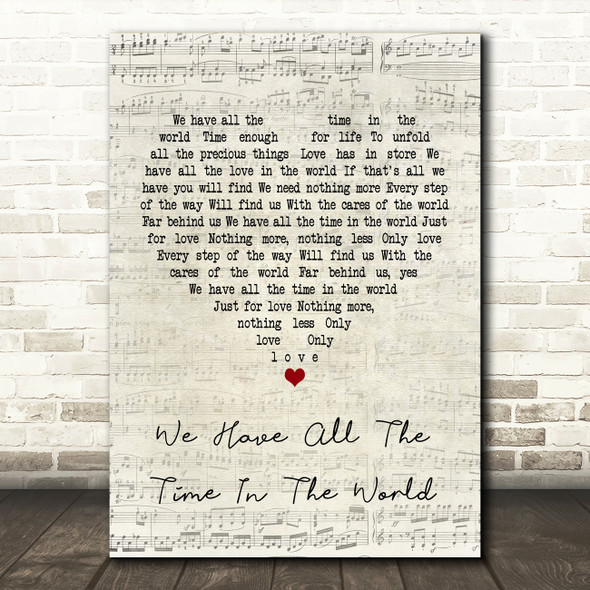 Louis Armstrong We Have All The Time In The World Script Heart Song Lyric Print