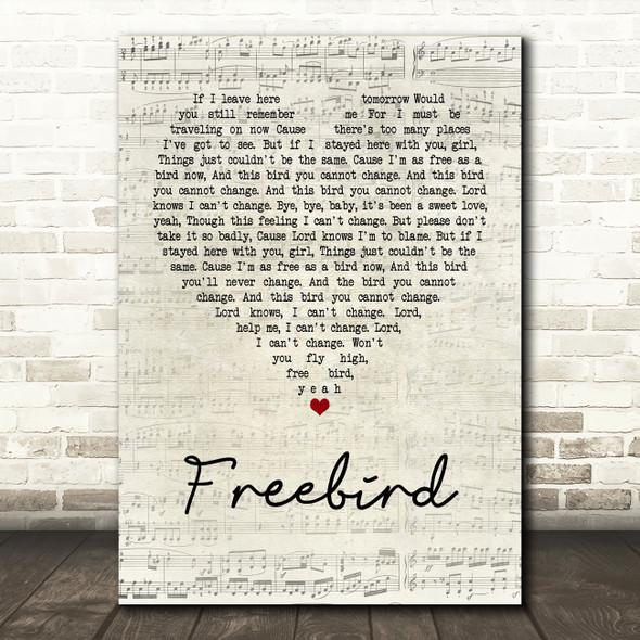 Lynyrd Skynyrd Freebird Script Heart Quote Song Lyric Print