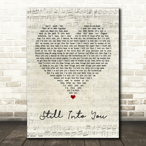 Paramore Still Into You Script Heart Quote Song Lyric Print